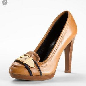 "Tory Burch ""Belinda"" Platform Loafer Heel Sz 8.5"